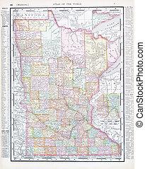 régimódi térkép, egyesült, usa, szín, egyesült államok, mn, minnesota
