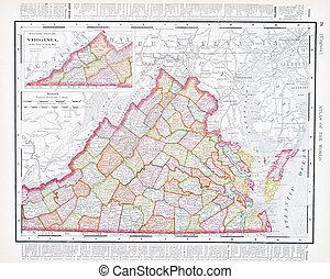 régimódi térkép, egyesült, usa, va, szín, egyesült államok,...
