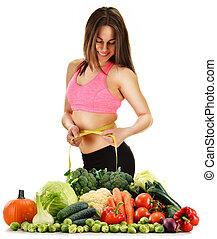 régime équilibré, basé, sur, cru, organique, légumes, et,...