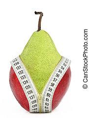 régime, contre, graisse, fruits