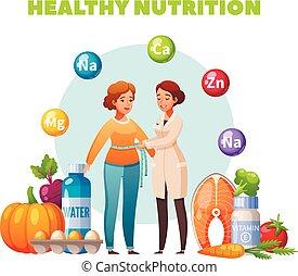 régime, dessin animé, composition, nutritionniste