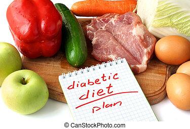 régime, diabétique, bloc-notes