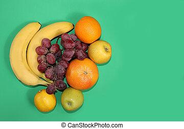 régime, poser, nourriture, organique, texte, table, endroit, sain, concept., fruits, bananes, vert, style de vie, plat, légumes, raisins, ingrédients, citrus
