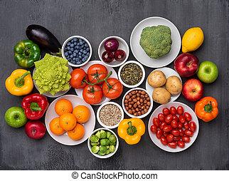 régime, vegan nourriture, légumes, frais, nutrition, ingredients:, manger, sain, superfood., concept, fruits