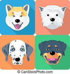 région montagneuse, chien, akita, ouest, rottweiler, icône, blanc, inu, conception, terrier, dalmatien, plat
