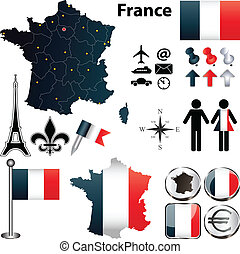 régions, carte, france
