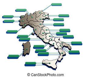 régions, carte, italie, italien