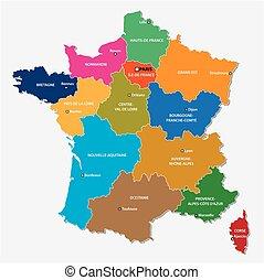 régions, carte, since, nouvelle france