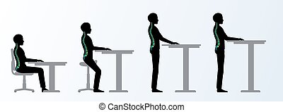 réglable, ergonomic., hauteur, bureau, table, poses, ou