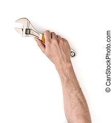 réglable, lever, isolé, homme, clé, fond, fin, blanc, main, vue