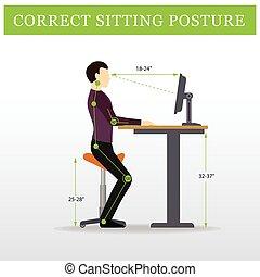 réglable, selle, ergonomic., séance, hauteur, table, chaise