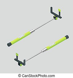 réglable, vecteur, selfie, crosse, illustration., téléphones, 3d, monopods, crampon, isométrique, selfie., extensible, stick., end., plat, illustration