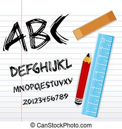 régua, alfabético, livro, lápis, textos