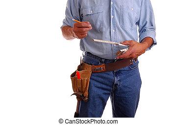 régua, carpinteiro, segurando, lápis