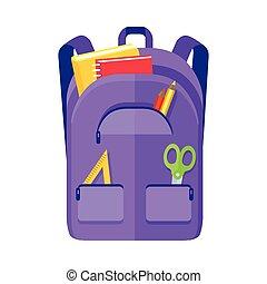 régua, mochila, caderno, ícone, schoolbag