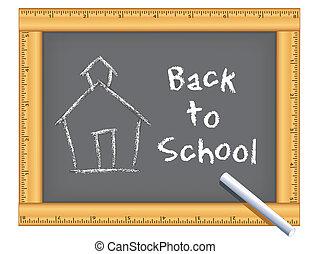 régua, quadro, schoolhouse, chalkboard