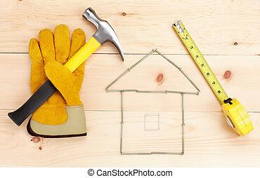 régua, tools., martelo