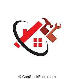 rénovation du logement, outils, entretien, concept, maison, réparation, logo, construction