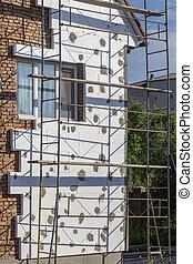 rénovation, ouvriers, renovation., échafaudage, maison, ...