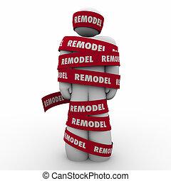 rénovation, projet, bande, emballé, nouveau, remodeler, rouges, homme