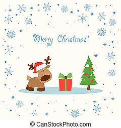 rénszarvas, white christmas, kártya