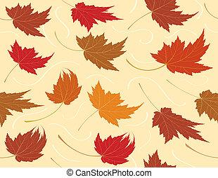 répéter, feuille, seamless, fond, automne