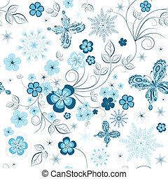 répéter, hiver, modèle floral