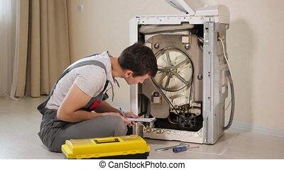 réparateur, écrit, machine, vérification, lavage, presse-...