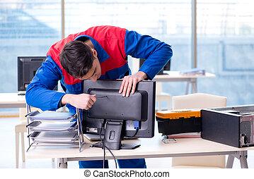 réparateur, informaticien, bureau, réparation
