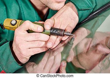 réparateur, ouvrier, pare-brise
