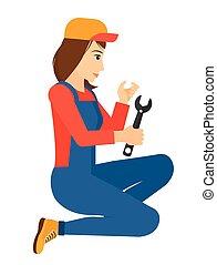 réparateur, spanner., tenue