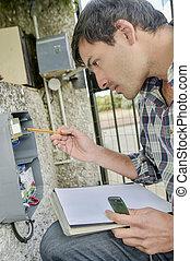 réparation, électricien, électrique, panneau