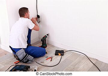 réparation, électricien, câblage