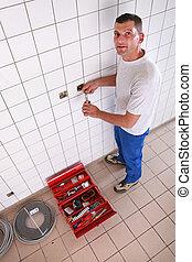 réparation, électrique, salle bains, électricien, sortie