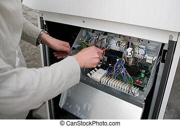 réparation, équipement, électrique, homme