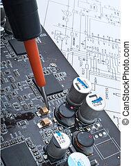 réparation, a, informatique, surface-mounted, planche
