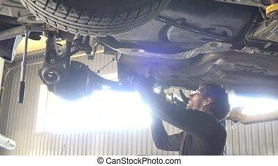 réparation, auto, light., contre, intensif, fenêtre, mécanicien, automobile