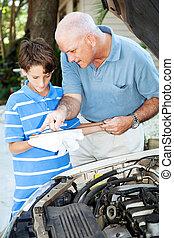 réparation auto, -, papa aidant