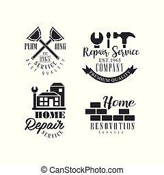 réparation, bâtiments, ensemble, fonctionnement, instruments, logos, maison, compagnie, wall., emblèmes, vecteur, noir, services., brique blanche, rénovation