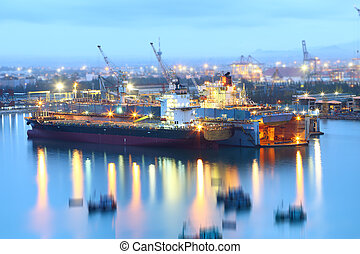 réparation, bateau, chantier naval, docks