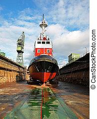 réparation, bateau, construction navale