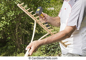 réparation, bois, closeup, rake-