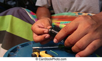 réparation, bouchons, tournevis, électricien