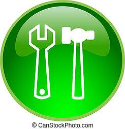 réparation, bouton, vert