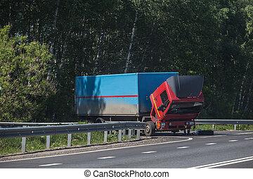réparation, camion, route
