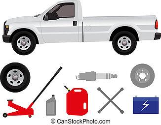 réparation, camionnette, groupe
