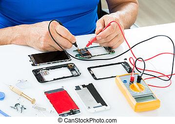 réparation, cellphone, homme