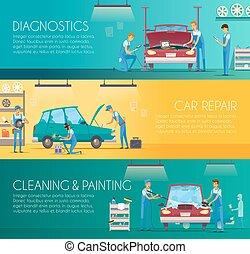 réparation, centre, voiture, retro, bannières, dessin animé
