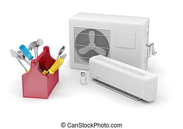 réparation, climatiseur, fond, air, entretien, blanc, 3d