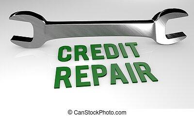 réparation, concept, titre, illustration, crédit, 3d